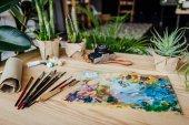 """Постер, картина, фотообои """"Зеленые растения с художественными принадлежностями на столе"""""""