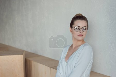 beautiful businesswoman in eyeglasses