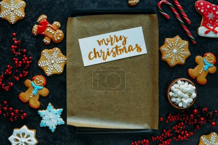 christmas card on baking tray