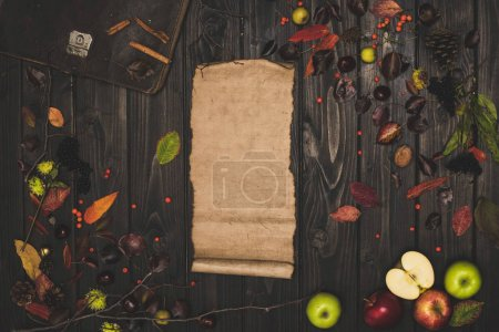 autumn leaves and blank parchment