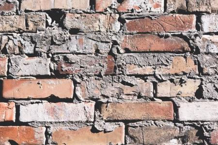 Photo for Close-up view of weathered red brick wall textured background - Royalty Free Image