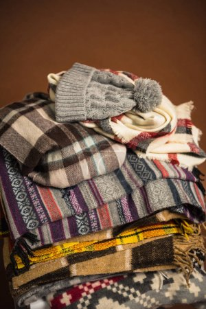 winter scarfs with blankets and hat