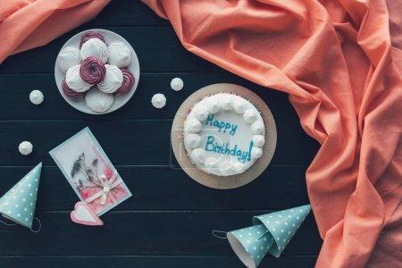 birthday cake and birthday caps