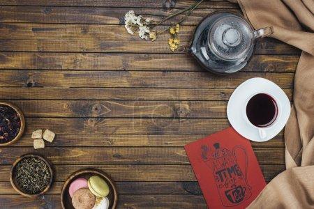 service à thé et carte
