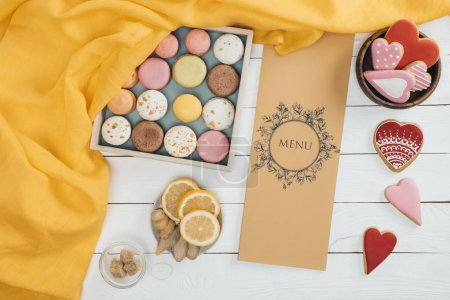 macarons and menu