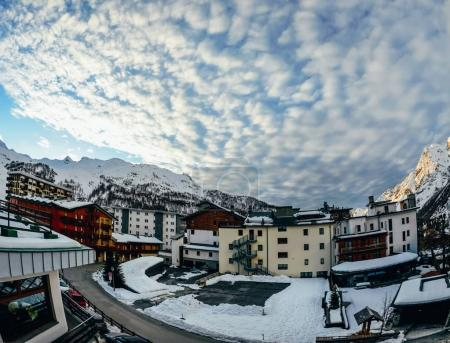 beautiful austrian town in snowy mountains