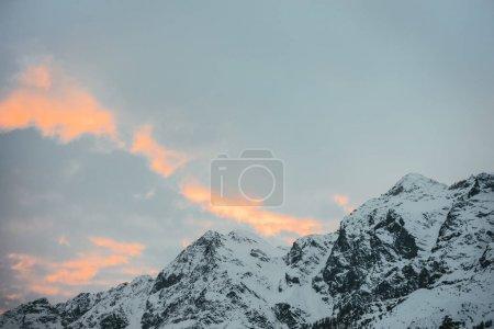 beautiful snowy mountains under sunset sky, Austria