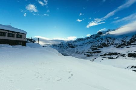 beautiful snowy mountains landscape with blue sky, Austria
