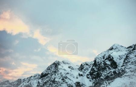 Photo for Tranquil mountains landscape under blue twilight sky, Austria - Royalty Free Image