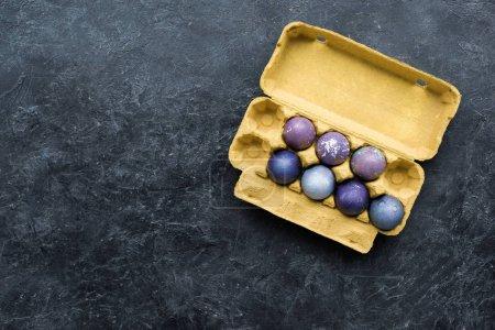 Purple colored eggs in carton on dark background