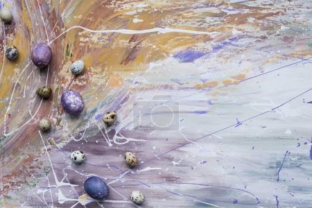 Photo pour Oeufs de poulet et de caille peints sur fond teinté - image libre de droit