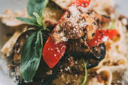 delicious vegetarian pasta with grilled vegetables and parmesan cheese