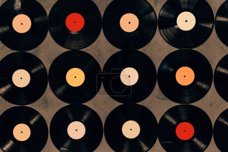top view of background made from vinyl records