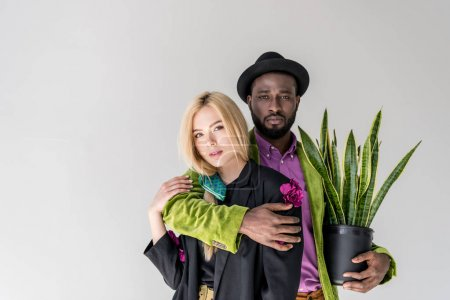 portrait of interracial stylish couple with green plant in flowerpot posing isolated on grey