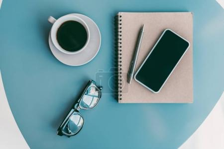 Photo for Flat lay composition of coffee and business supplies - Royalty Free Image