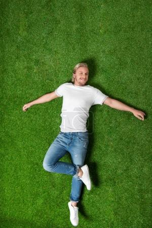 Photo for Above view of young caucasian man relaxing and lying on meadow - Royalty Free Image