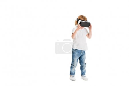 Photo for Little boy in virtual reality headset isolated on white - Royalty Free Image