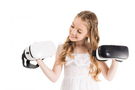 little girl with vr headsets