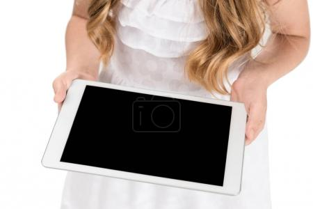 Photo for Cropped shot of girl holding tablet in hands isolated on white - Royalty Free Image