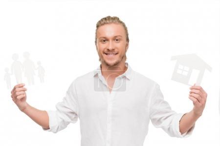Foto de Retrato de hombre alegre con tarjetas en blanco en manos aisladas en blanco - Imagen libre de derechos