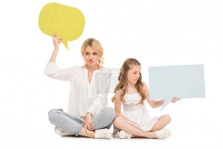 mother and daughter with blank cards