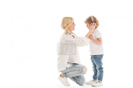 Mother and son with headphones