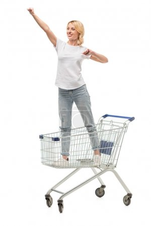 woman standing in shopping cart