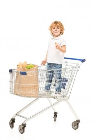 Kid in shopping cart