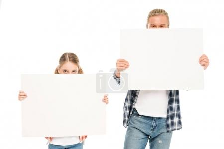 Father and daughter with blank banners