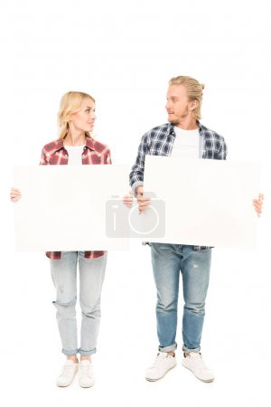 Couple with empty banners