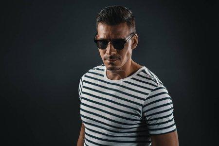 stylish man in striped t-shirt