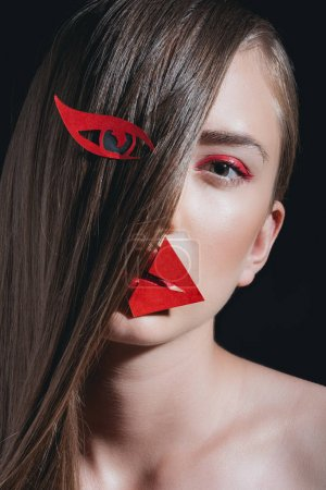 fashionable woman with paper makeup