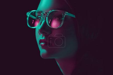 Photo for Headshot of stylish young woman in sunglasses looking away - Royalty Free Image