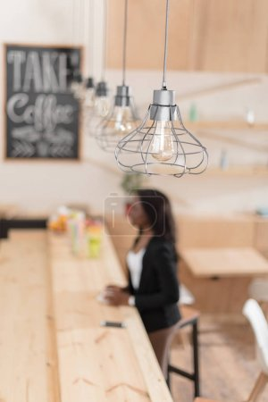 modern lamps in coffee shop