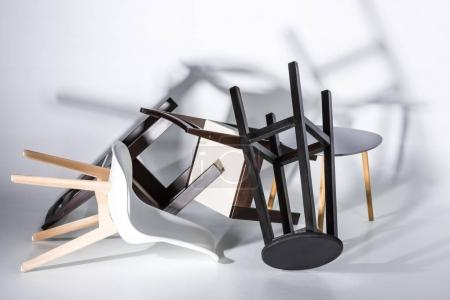 Pile of stylish chairs