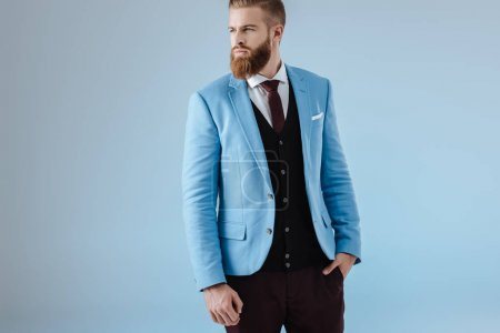 stylish man in blue jacket