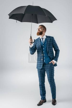 attractive young man with umbrella