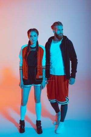 stylish couple in fashionable clothes