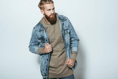 stylish man in jeans jacket