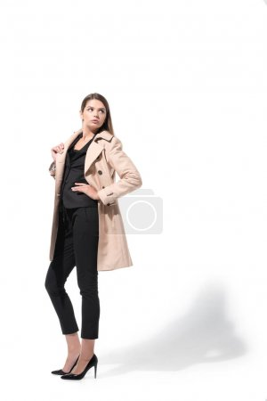 woman in classic trench coat