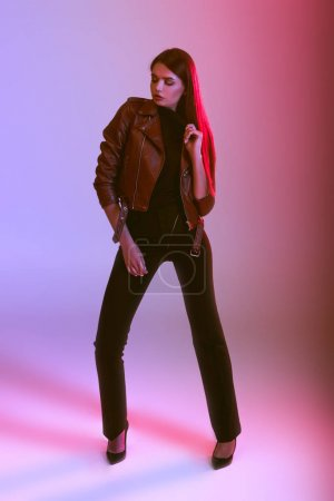 girl in leather jacket