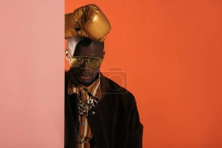 stylish man in boxing glove