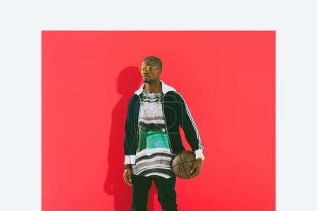 African american man with basketball ball