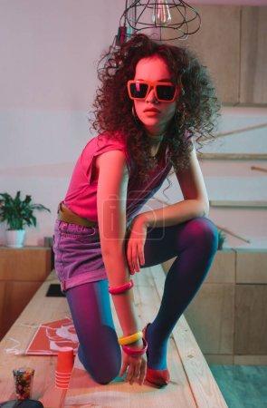 fashionable woman in bar