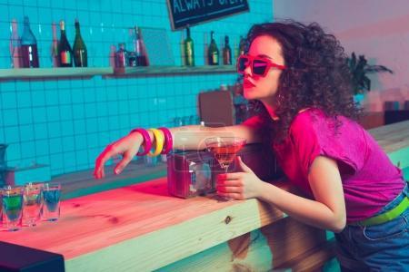 stylish woman in bar