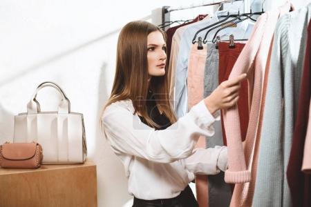 elegant girl in boutique
