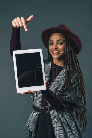 african american girl with digital tablet