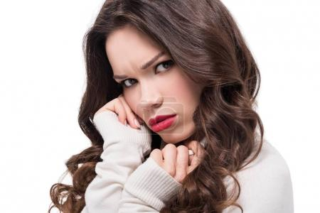 Photo for Portrait of young attractive woman with bright makeup frowning and looking at camera, isolated on white - Royalty Free Image