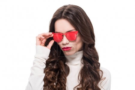 Woman in red sunglasses