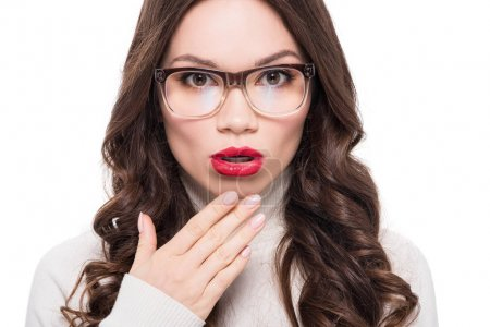 Woman with bright lips in glasses